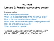 Lecture 12 - October 7 - Reproduction Female