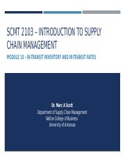 SCMT 2103 - Introduction to Supply Chain Management - Module 10 - In-Transit - Blackboard