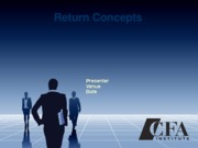 Equity Valuation CFA Ch 2 Return Concepts_Student Version Parts A & B 9-11-13