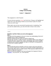 CRE101  Lesson 2 - Assignment 2