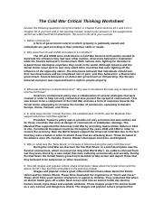 The Cold War Critical Thinking Worksheet.docx