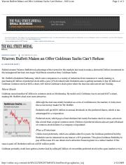 Buffet buys Goldman Sachs Preferred stocks