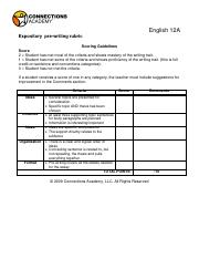 expository  pre-writing rubric