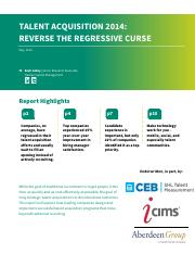 Aberdeen Talent Acquisition 2014 Reverse the Regressive Curse