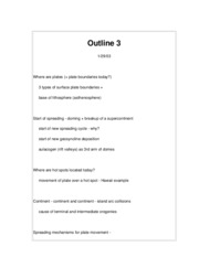 Geology 404C Plate Tectonics & Earth History Outline 3