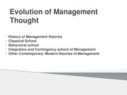 Evolution of Management Thought MBA 1