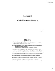 Lecture 8 - Capital Structure Theory I