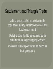 2 - Settlement and Triangle Trade