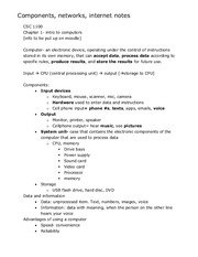 Components, networks, internet notes