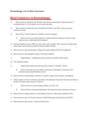 Dermatology List of Most Commons.docx