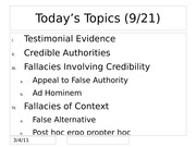 Fallacies of Credibility and Context