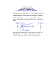 CS 38-Summer 2009-Final Exam Study Guide