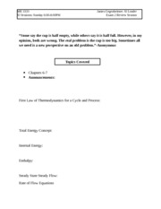 Thermo SI Exam2 Review Worksheet (ME 3333 Summer 2014)