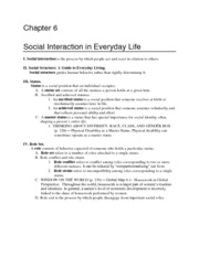 Ch 6 Socialization In Everyday Life - Outline