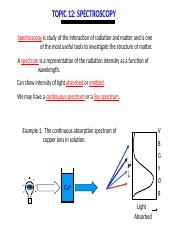 Oct 24 Topic 12.1 to 12.5 Spectroscopy introductino
