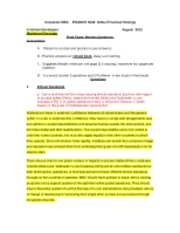 August 2012 Final exam questions Comprehensive