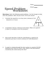 8th grade speed problems.docx   Name Speed Problem ...