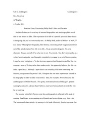 Reaction Essay Concerning Philip Roth's View on Character
