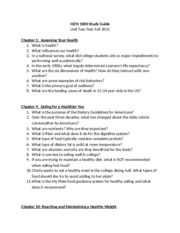 F15 HLTH 1000 Unit Two Study Guide(1)