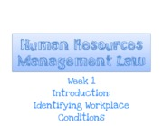 HRM Law 2013 Week 1 Introduction