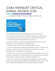 Cara Membuat Critical Jurnal Review Docx Cara Membuat Critical Jurnal Review Cjr Rizkyfauzie Uncategorized 1 Langkah Membuat Critical Jurnal Course Hero