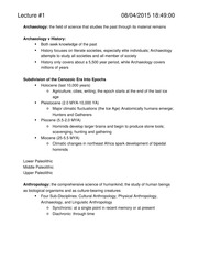 Intro to Archaeology Notes - AR100
