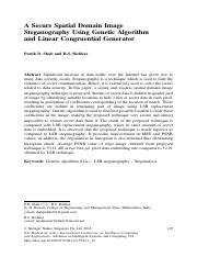 A secure spatial domain image steganography using genetic algorithm and linear congruential generato