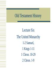Lecture 6 The United Monarchy