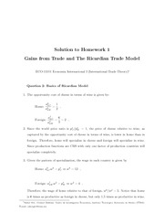 Homework 1 Solution on Gains from Trade and Ricardian Trade Model