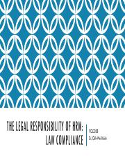 Lecture 2 The Legal Responsibility of HRM (1)
