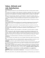 Value, Attitude and Job Satisfaction.docx