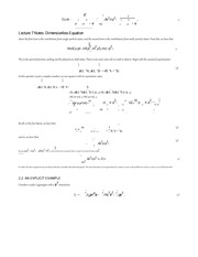 Lecture 7 Notes Dimensionless Equation