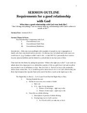 Sermon Outline 8-14-16 Relationship with God.rtf