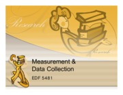 3 - Chapters 6-8 - Measurement and Data Collection