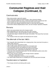 Communist Regimes and their Collapse (Continued, 2)