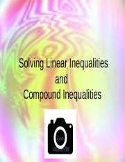 3Solving Linear Inequalities and Compound Inequalities.ppt
