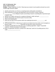 MKT 111 Quiz # 1 (Take Home) Fall 2014