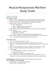 Musical Perspectives Mid-Term Study Guide