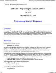 Lecture 20 - Programming Beyond this Course