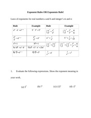 Exponent Rules OR Exponents Rule Study Guide