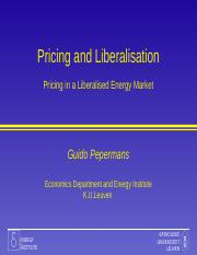 Gastcollege Pricing and Liberalisation