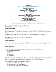 Sales Force Management (MAR 3403)-Fall-2011 Syllabus-REVISED on 8-29-11