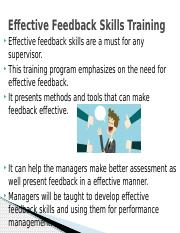 Effective Feedback Skills Training