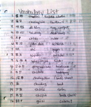 Chinese vocabulary practice