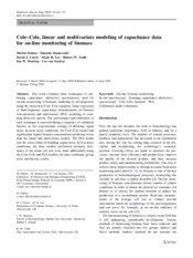 Cole-Cole linear and multivariate modeling of capacitance data for on-line monitoring of biomass