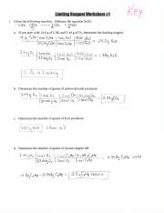Limiting Reagent Worksheet 1 - llmlflnn IIeanent Worksheet#1 K8 Y 1 ...