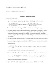 ApEc 1101 Elasticity Solutions to Additional Practice Problems