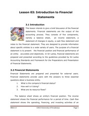 113-3 Introduction to Financial Statements