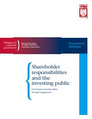 shareholder responsibilities and the investing public