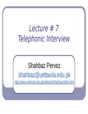 Lecture #7 The Job Application process---Telephonic interviews